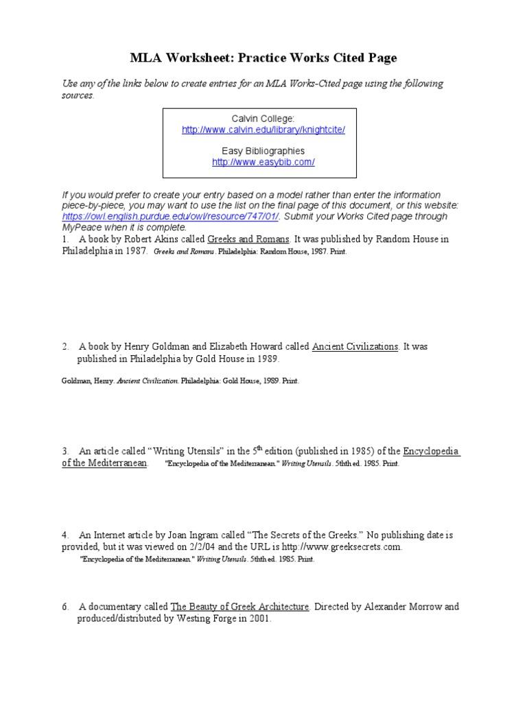 Uncategorized Mla Citation Worksheet mla practice worksheet done science general