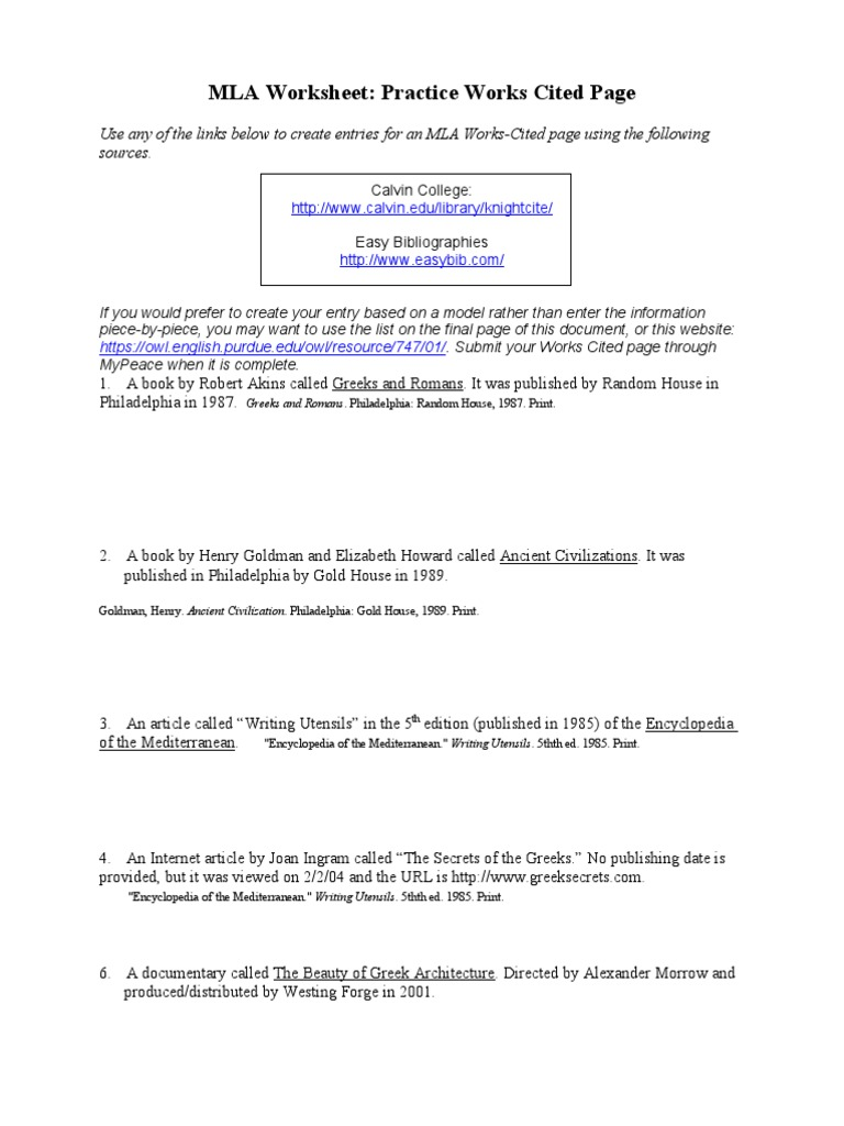 worksheet Mla Works Cited Worksheet mla practice worksheet done science general