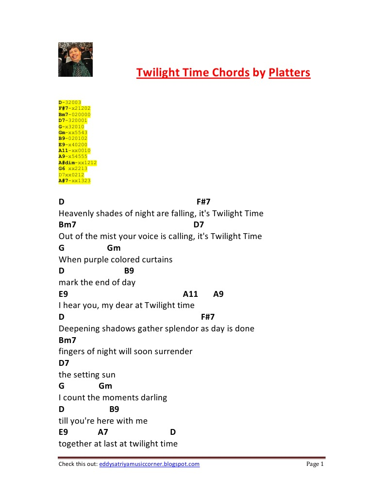 Twilight time chords by platters calibri twilight hexwebz Image collections