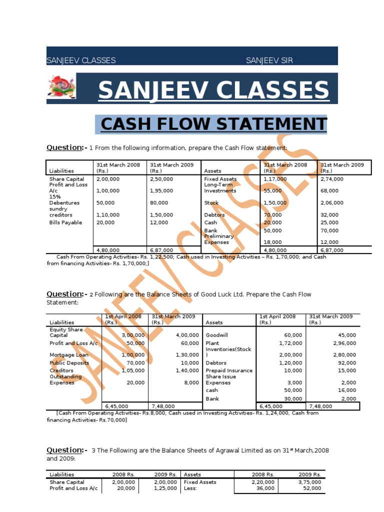 cash flow question paper1 dividend balance sheet