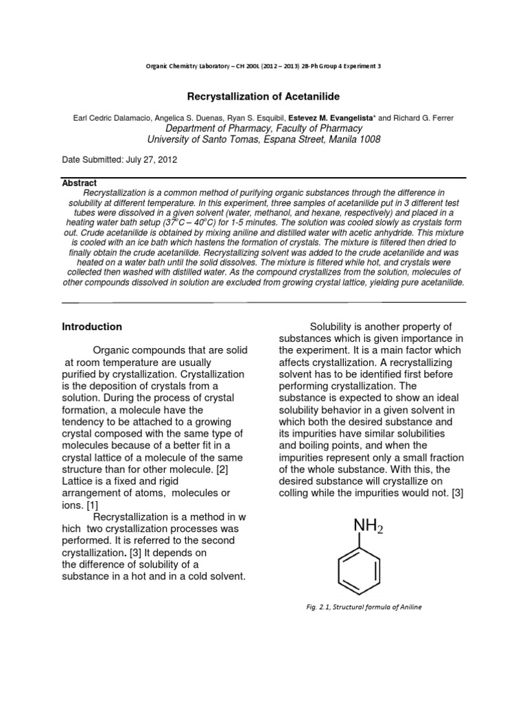 recrystallization organic chemistry lab