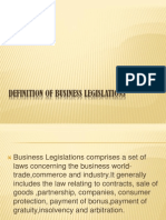 Definition of Business Legislations