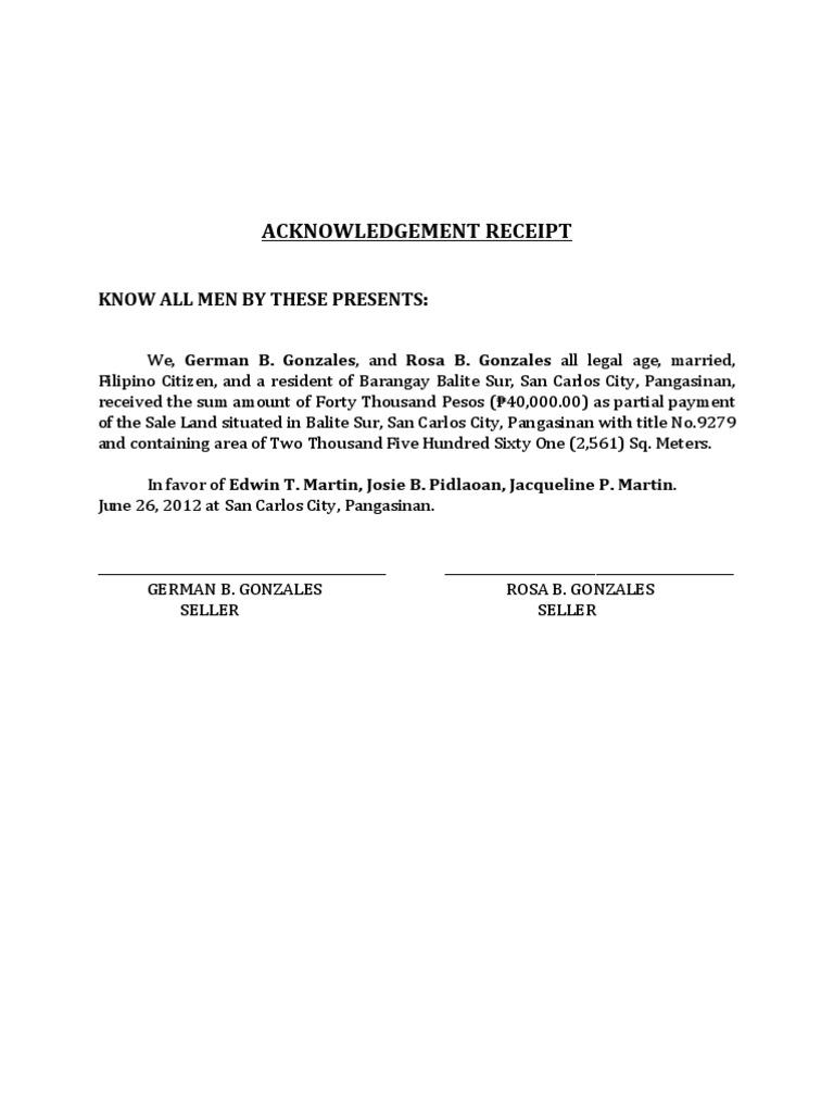 Acknowledgement Receipt – Sample of Acknowledgement Receipt