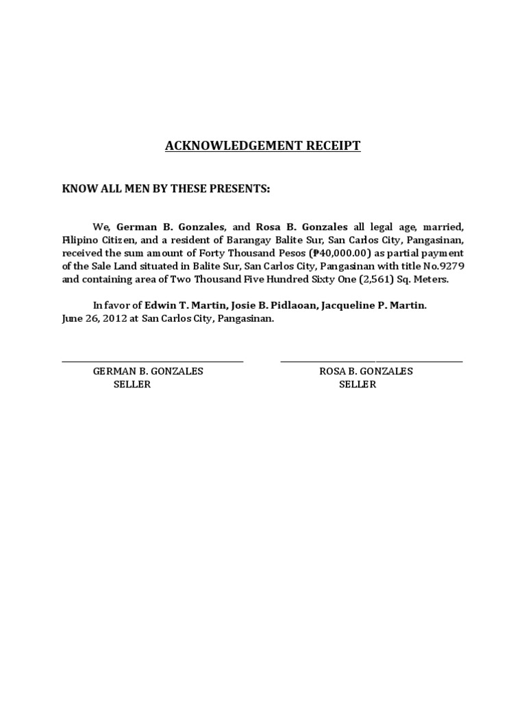 Acknowledgement Receipt – Acknowledgement Receipt Sample