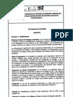 Ley 1562 11 de Julio 2012 - Sistema de Riesgos Laborales
