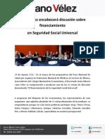 31-08-12 Cano Velez Encabezara Discusion Sobre Financiamiento en Seguridad Social Universal