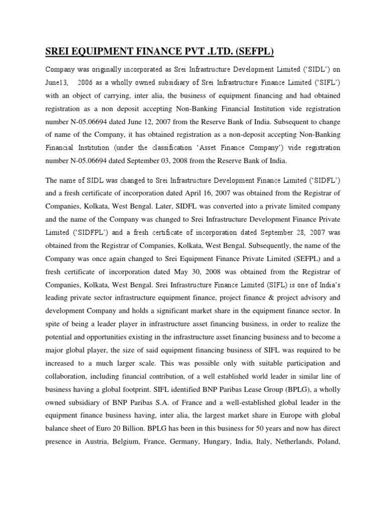 History Of Srei Bnp Paribas Joint Venture
