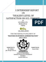 Dealers level of satisfaction OCL India Cement Internship project report 2012-13