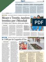 Coppetta d'Oro Borgo Valsugana sul quotidiano L'Adige del 2 settembre 2012
