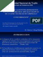 ESPESOR DE LA DENTINA REMANENTE EN LOS 4 MILIMETROS APICALES