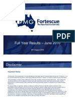Fortescue 2010 Results Presentation