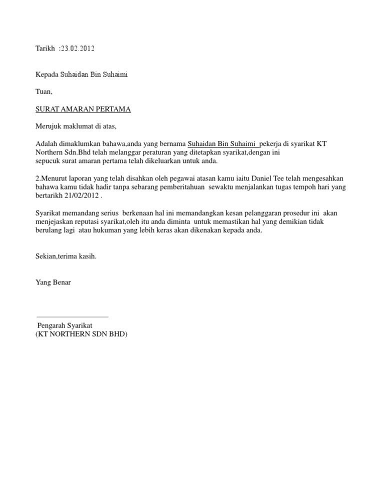 Contoh Soal To Kimia Contoh Surat Amaran Kepada Pekerja