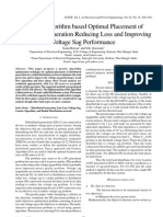 Genetic Algorithm based Optimal Placement of Distributed Generation Reducing Loss and Improving Voltage Sag Performance