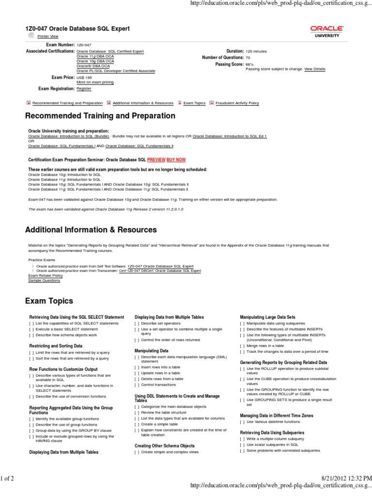 1z0 047 Oracle Database Sql Expert Sql Oracle Database