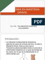 Timectomia en Miastenia Gravis