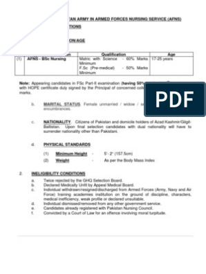 Eligibility Criteria for Joining Pakistan Army in Armed
