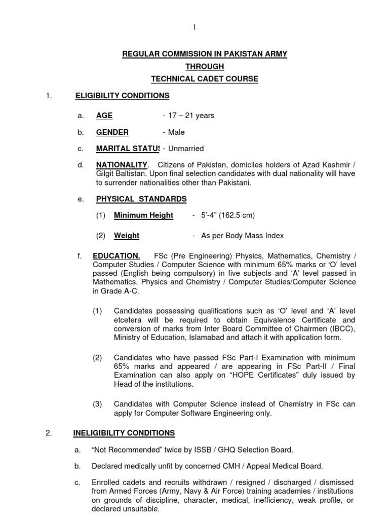 Eligibility Criteria for Joining Pakistan Army Through