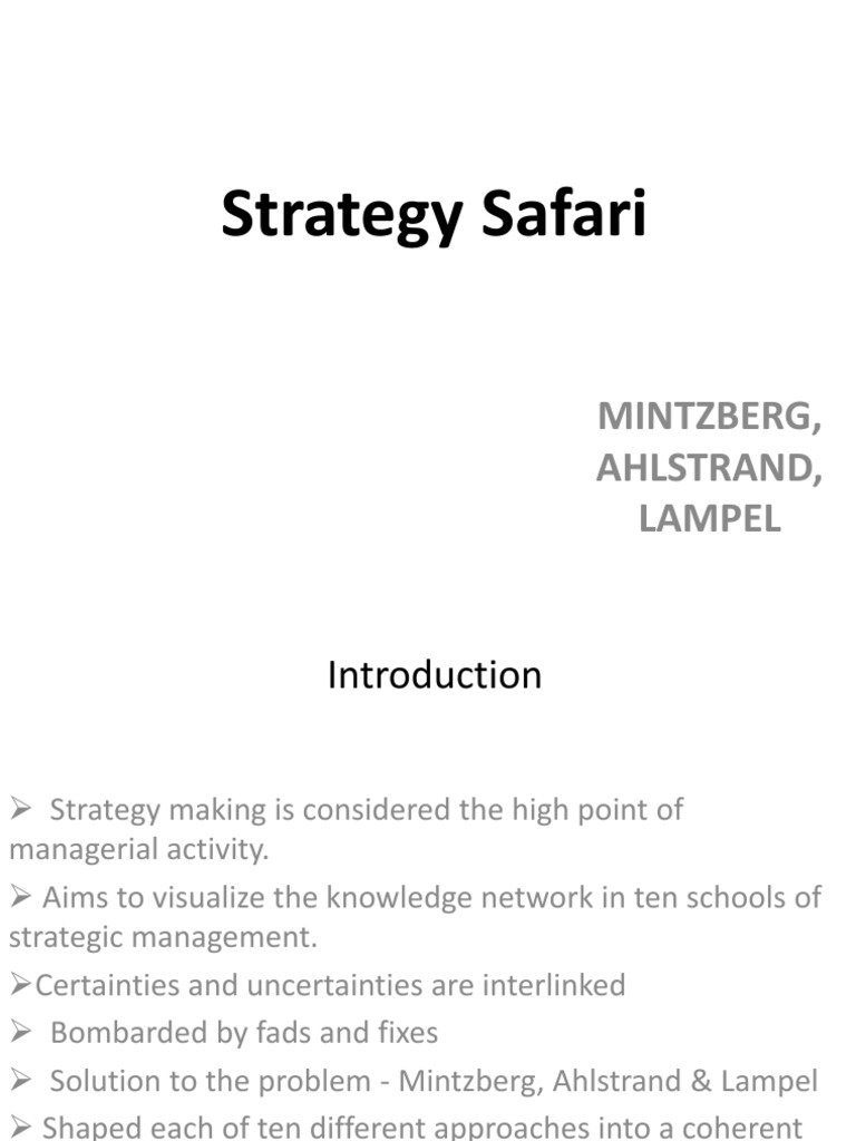 ten schools of thought on strategic management