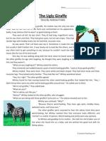 Ugly Giraffe Third Grade Reading Comprehension Worksheet