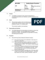 QSP 8.3.1 Nonconforming Product -Sample