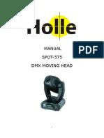 Manual Moving Head Spot 575 20 Canais