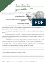 Prova Final de Geografia - 6ª Série - 2012