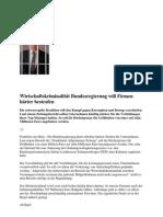 Wirtschaftskriminalität Bundesregierung will Firmen härter bestrafen