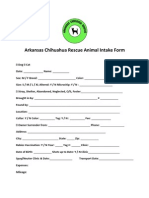 Arkansas Chihuahua Rescue Animal Individual Intake Form