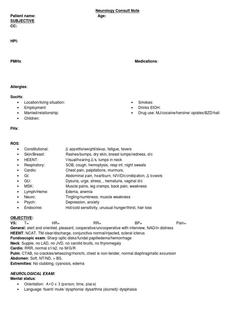 Neurology consult note template anatomical terms of motion neurology consult note template anatomical terms of motion diseases and disorders pronofoot35fo Gallery