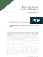 2009 O Dever de Sigilo Medico. Um Roteiro da Lei Portuguesa by AndreGPereira 42p