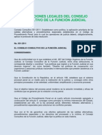 Disposiciones Legales Del Consejo Consultivo de La Funcion Judicial
