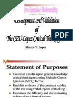 K2 Lopez CEU Critical Thinking Test
