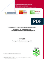 Curso Participación Ciudadana y Medios Digitales - Modulo IV. Participacion Ciudadana Del Siglo XXI