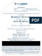Romney Victory Robert Duvall Event Invititation