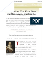 The Plan for a New World Order Stumbles on Geopolitical Realities [Voltaire Network]