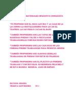 Propuestas de materiales orgánico e inorgánico PARA CHITIVA
