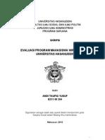 Evaluasi Program Mahasiswa Wirausaha (PMW) Di Univesritas Hasanuddin