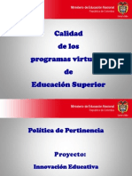 Calidad de los programas virtuales de educación superior