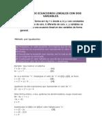 Sistema de Ecuaciones Lineales Con Dos y Tres Variables.