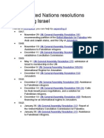 List of United Nations Resolutions Concerning Israel