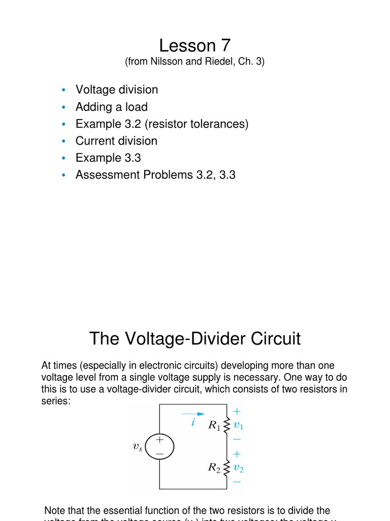 7 Voltage And Current Division Series Parallel Circuits Resistors Simple Divider Question Electrical Engineering Resistor