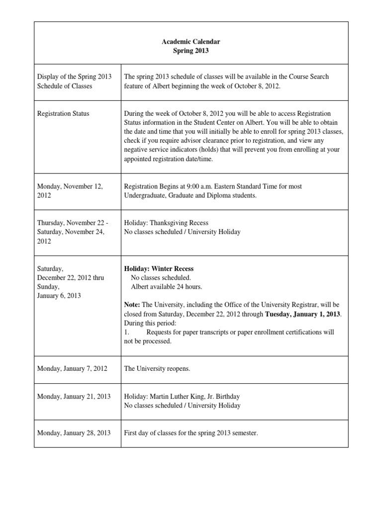 Academic Calendar NYU Spring 2013 | Academic Term (10 views)