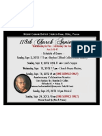 118th Church Anniversary Schedule Of Events