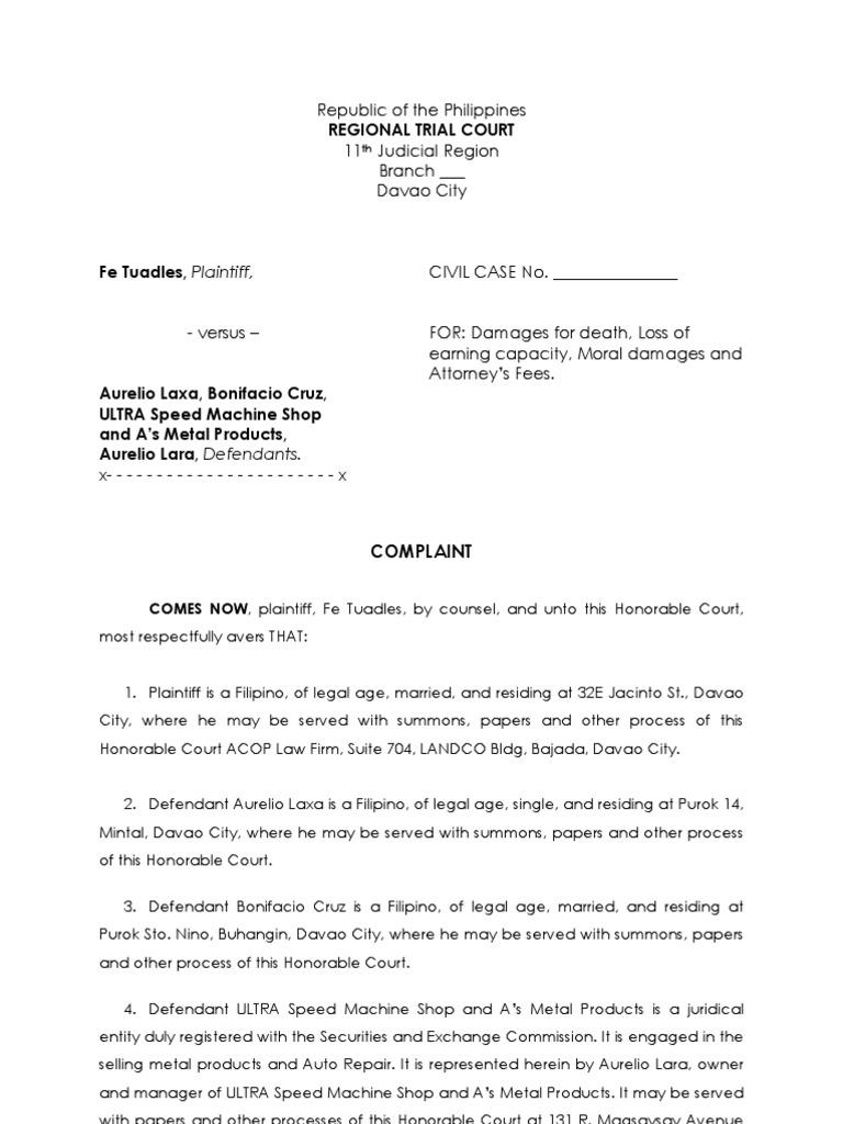 Sample complaint summons damages spiritdancerdesigns Choice Image