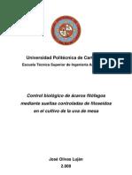 Control biológico de ácaros fitófagos mediante sueltas controladas de fitoseidos en el cultivo de la uva de mesa