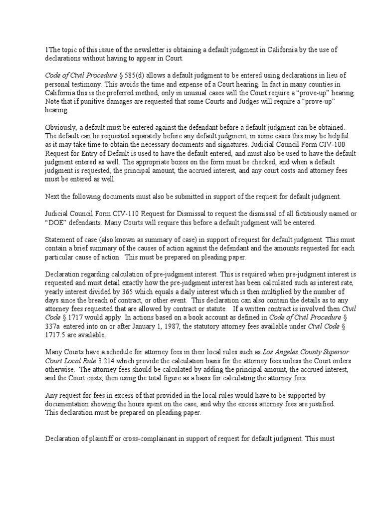 default judgment by declaration in california default judgment