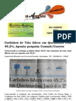 Carlinhos de Tião lidera em Queimadas com 49,2%; Aponta pesquisa ConsultCorreio