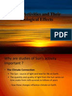 Solar Activities and Their Biological Effects
