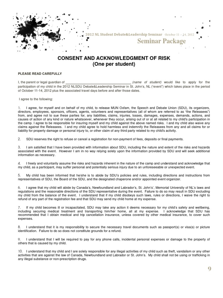 Seminar waiver indemnity insurance spiritdancerdesigns Images