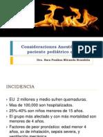 Consideraciones Anestésicas en paciente pediátrico quemado